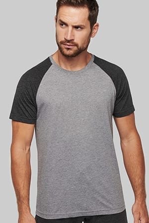 T-shirt bicolore sport manches courtes adulte Proact PA4010- 2019